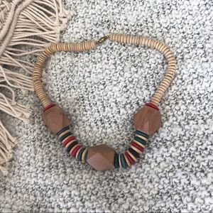 Boho Beaded Necklace Brown Red Large